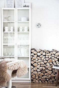 white shelving unit, firewood