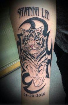Tribal white tiger tattoo