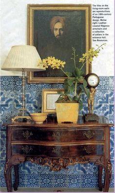 Michael Smith Interior Designer - Portuguese tiles antique console