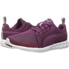 PUMA Carson Prism (Magenta Purple/Puma Silver) Women's Shoes ($42) ❤ liked on Polyvore featuring shoes, athletic shoes, purple, puma footwear, purple shoes, lace up shoes, puma athletic shoes and patterned shoes