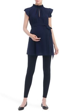 Kimi and Kai Karlena Flutter Sleeve Belted Maternity Top available at #Nordstrom