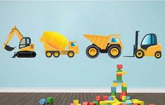 Truck Wall Decals,REUSABLE Construction Truck Wall Decals Fabric Wall Decal Set of 4 trucks, Repositionable. Reusable