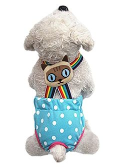Lovely Rainbow Pet Dog Puppy Teddy Tighten Strap Reusable Diapers Washable Cotton Dog Season Sanitary Physiological Shorts Pants Nappies Nursing Hygiene Pantie Underwear for Small Girl Female Dogs -- Read more reviews of the product by visiting the link on the image.-It is an affiliate link to Amazon. #CatNursingSupplies