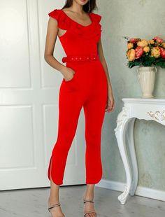 Layered Ruffle Split Leg Slinky Jumpsuit - Just Shop Estilo Fashion, Ideias Fashion, Embellished Jumpsuit, Split Legs, Jumpsuit With Sleeves, Jumpsuit Dress, Light Dress, Beautiful Gowns, Jumpsuits For Women