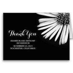 Black and white elegant flower thank you cards cards