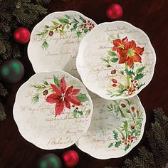 Lenox Winter Meadow Dessert Plates, Set of 4.  Possible pattern for our Christmas dishes