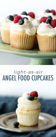 This easy recipe for light-as-air angel food cupcakes is a wonderful choice for . - Cake Fingerfood - This easy recipe for light-as-air angel food cupcakes is a wonderful choice for . Light Summer Desserts, Summer Dessert Recipes, Easy Desserts, Delicious Desserts, Summer Desserts For Parties, Healthy Cupcake Recipes, Light Dessert Recipes, Healthy Cupcakes, Health Desserts
