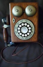 VTG Western Electric Rotary Style Dial Telephone Oak Wood Wall Phone Ships Free
