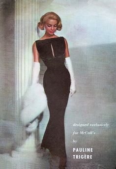 1950s Gorgeous Evening Dress Gown Pattern Pauline Trigere Man Magnet Glove Fitting Empire Dress Seductive With Elegance McCalls 4258 Vintage Sewing Pattern Bust 32
