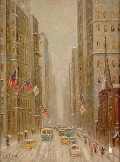 New York Winter Street Scene By Colin Campbell Cooper Jr