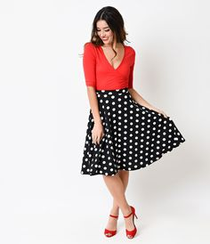 Red High Waisted Scuba Swing Skirt - New Arrivals! | Unique Vintage