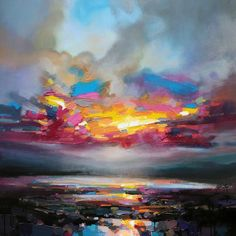 Working with thick brushes and palette knives, artist Scott Naismith carefully reveals the interplay of light and clouds over his native Scotland. The Glasgow-based painter travels the country extensively, drawing inspiration from the glens, lochs, and islands of the West coast in particular. Ma