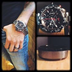 Today's #watchwednesday features this sick watch. It has a stainless steel band, black dial and a chronograph all on a large face. I paired it up with my black and gunmetal tungsten band. #diamond #diamonds #wedding #weddings #engagementring #ring #rings #watch #watches #bulova #jewellery #jewelry #style #swag #thediamondstudio