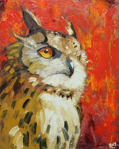 Owl Oil Painting | Owl 13 16x20 inch original oil painting by Roz