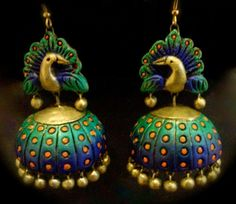 terracotta jewellery,elegant design, indian jewellery,Google serch result,terracotta earring,sonu vinay,beautiful peacock design