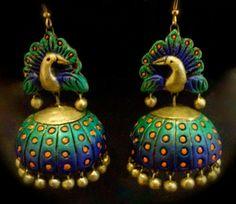 terracotta jewellery,elegant design, indian jewellery,Google serch result,terracotta earring,sonu vinay,beautiful peacock design