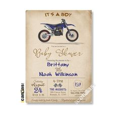 It's A Boy Baby Shower Invitation, Motorcycle Invitation, Baby Boy Shower…