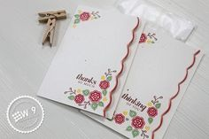 Dawn Woleslagle for Wplus9 featuring Very Vintage Florals stamps and the Scalloped Border Die.