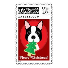 Boston Terrier Merry Christmas Postage Stamps