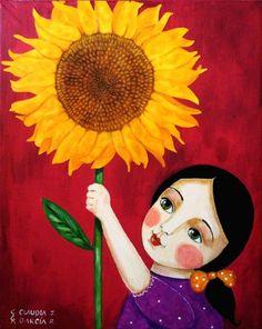 Art Gallery - Cute Folk Art by Claudia Garcia Vincent Van Gogh, Floral Drawing, Sunflower Art, Naive Art, Autumn Art, Mexican Folk Art, Cute Cartoon, Cartoon Art, Chinese Art