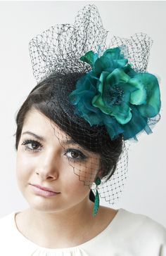Margaret Alice Fascinator - turquoise flower and veiling