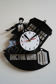 Doctor Who Design vinyl record wall clock   white