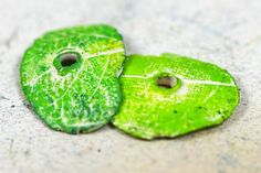 Green doublesided Leaf imprinted beads.... by NostalgiqueArt, $12.50