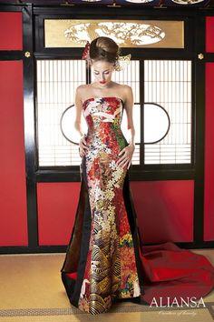 和ドレス 着物ドレス 花枝垂 India Fashion, Kimono Fashion, Kimono Dress, Dress Up, Asian Wedding Dress, Strapless Dress Formal, Formal Dresses, Geisha, Japanese Fashion