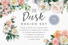 Flower Watercolor Clipart - Dusk- This dusky peach, pink and lilac clip art set was inspired by wedding colour trends. Containing beautiful roses and dramatic white peonies, this will add a delicate and pretty statement to any project. by Twigs and Twine