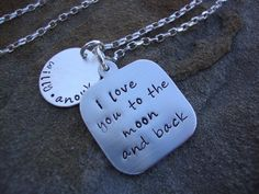 Love you to the Moon Sterling Silver Personalized Disc Hand Stamped Necklace. $40.00, via Etsy.