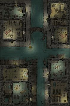 The Civilized area of the Underwalk Ward, and now taken over by the Clasp, carved out of the walls of the Westruun Sewer Dungeons And Dragons Homebrew, D&d Dungeons And Dragons, Dnd World Map, Fantasy City Map, Pathfinder Maps, Site Art, Building Map, Rpg Map, Cthulhu