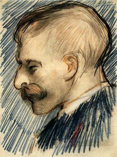 Head of a Man (Possibly Theo van Gogh) - By Vincent van Gogh- Charcoal and Chalk - 1887.