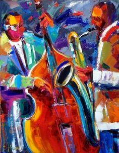 Jazz Paintings Abstract Original Oil Painting - Debra Hurd
