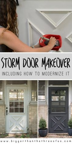 Vintage Home Update a Storm Door: Updating the Grille on a storm door and how to modernize it with HANDyPaint - How to Update a Storm Door including how to modernize the muntin frame over the window! DIY Project for all Levels! Painted Storm Door, Painted Screen Doors, Painted Exterior Doors, Aluminum Screen Doors, Aluminium Doors, Painting Metal Doors, Aluminum Storm Doors, Front Door With Screen, Front Storm Door Ideas