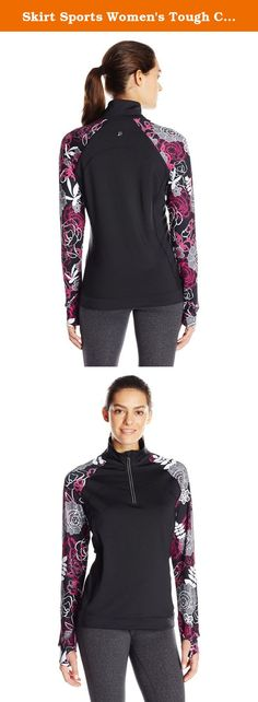 """Skirt Sports Women's Tough Chick Top, Black/Enchanted Print, X-Large. Skirt Sports - Tough Chick Top - When the going gets tough, chin up and layer up with the Tough Chick Top. After all, it's about time activewear for women helped you conquer whatever the world throws at you, don't you think? The Skirt Sports Tough Chick Top cover-up has a relaxed fit and longer length of 26.25""""all around. Our midweight moisture-wicking Endure Jersey fabric keeps you dry and warm, plus has bragging…"""