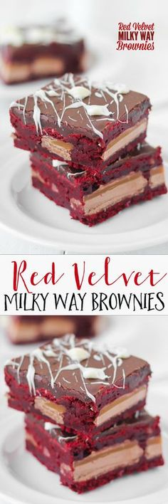 Red Velvet Milky Way Brownies -- chewy, dense, and fudgy. So good and they slice like a dream!