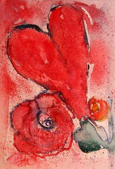 "Aquarell ""Herz & Rose"" von JOJAsART / Waterolour ""Heart & Rose"" by JOJAsART"