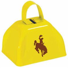 Customer printed yellow cowbells by OneWayPromos. Print a custom symbol on a variety of products to create a unique promotional product.