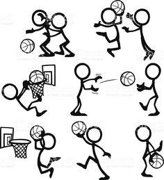 Stick Figura personas de baloncesto royalty-free stock vector art