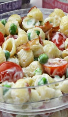 Pasta Salad with Bacon, Peas, and Tomatoes ~ Perfect for Memorial Day, Graduation Parties, 4th of July.