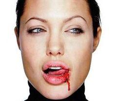 Angolina licking blood!