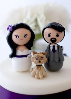 Personalized custom wedding cake topper bride groom by Chikipita, $85.00