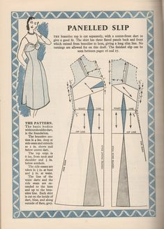 1940's Panelled Slip Pattern Drafting Instructions