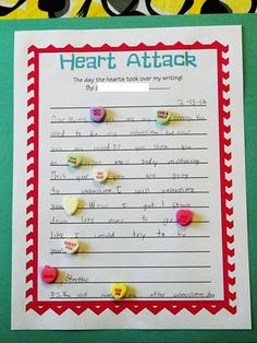 Valentine writing with conversation hearts