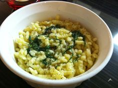 DJ Dave Diner 3/25 Dill Spaetzle - Meatless Monday goes Guten Tag today. Love making spaetzle, because you can't really screw it up :-) - I combined dill, leeks, nutmeg, parmesan, and mustard with a half regular and half gluten free rice flour, to make it a little healthier and less filling.