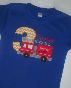Fire Truck Birthday Shirt  Firetruck Birthday Shirt by mimisbabies, $32.95