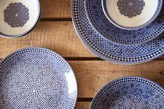 Assiette porcelaine bleue design marocain, déco orientale - Oranjade