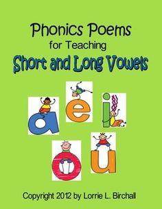 "Vowels (a, e, i, o, u) & 23 phonics poems targeting short vowels and long vowels!   <a href=""http://www.teacherspayteachers.com/Product/Phonics-Poetry-Anthology-133-Phonics-Poems-405095"">Phonics Poetry Anthology: 133 Phonics Poems</a>"