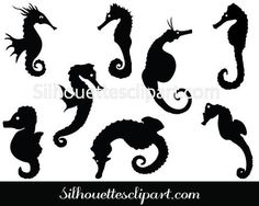 Sea Horse Silhouette Vector Pack