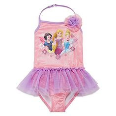 Princess Solid One Piece Swimsuit Toddler Girls